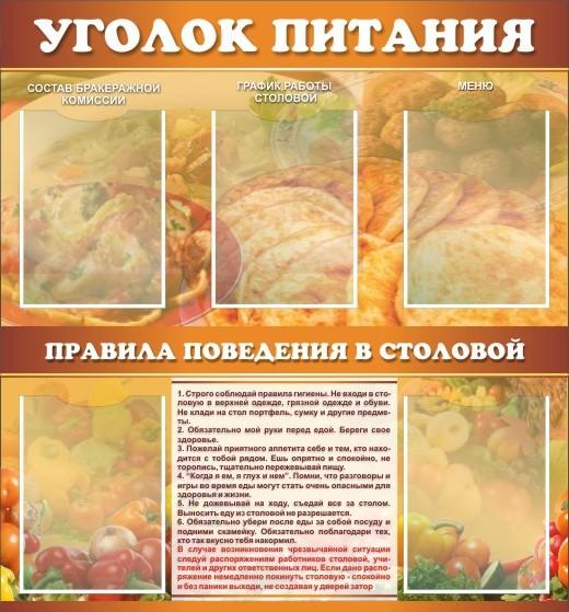 Стенд для столовой Уголок питания